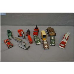 Selection of vintage toys including Matchbox tank, Corgi, Matchbox roadsters etc.
