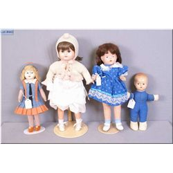 """Four vintage dolls including 18"""" with composition head, arms and legs on straw body, 11"""" stuffed bod"""