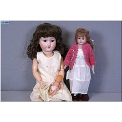 """Two antique bisque head dolls including 20"""" Armand Marseille 390 with open mouth, sleep eyes, no cra"""