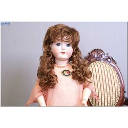 """24"""" Bergmann bisque head doll marked 1916, with sleep eyes, open mouth on composition body, note mis"""