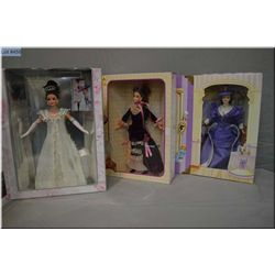 Three new in box collectible Barbie dolls including Barbie as Eliza Dolittle in My Fair Lady circa 1