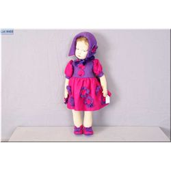 """22"""" felt doll, no mark seen but possible made by Lenci with reproduction felt costume, side glancing"""