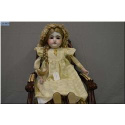 """23"""" German Kestner DEP 10 bisque shoulder head doll on kid leather body, with open mouth and set bro"""