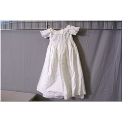 Beautiful vintage white cotton Christening gown with cut work lace bodice and sleeves and cotton lac