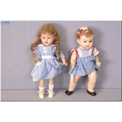 Two vintage composition dolls including Canadian Dee & Cee baby doll with closed mouth, composition