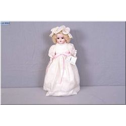 "15"" Armand Marseille 370 bisque head doll on pink cloth stuffed body with bisque arms. Sleep eyes, o"