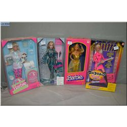 Four new in package Barbie dolls including Pet Doctor, circa 1996, Hollywood Nails Barbie, Beyond PI