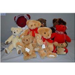 Selection of vintage and collectible bears including Gund