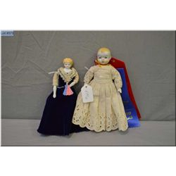 """Two glazed china head dolls including 7.5"""" doll with bisque arms and legs, painted shoes and blonde"""