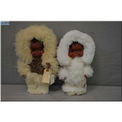 """A 12"""" vintage Kimmie doll and a 12"""" Kimmie style doll in rabbit's fur costume"""