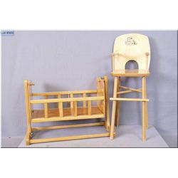 Vintage doll's wooden highchair with kitten litho and a rocking cradle