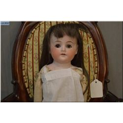 """20"""" German bisque head doll on leather body with bisque arms and stuffed legs, good bisque, no crack"""