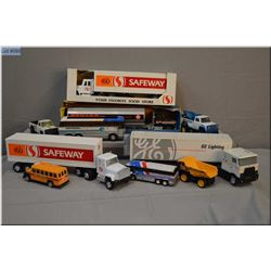 Selection of toys including an Ertl tanker, Safeway tractor trailer etc.