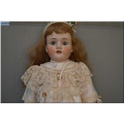 """38"""" Schoneau and Hoffmeister bisque head doll, with sleep eyes, open mouth, no cracks or hairlines,"""