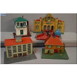Selection of train accessories including #397 coal loader, #445 switch tower, and German made metal