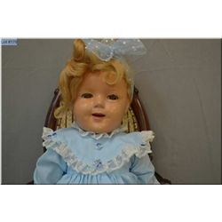 """27"""" flirty eyed Shirley Temple composition doll, has been repainted and eyes cloudy"""