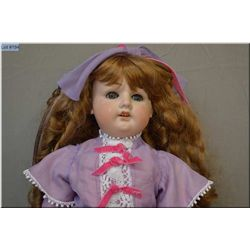 """25"""" German bisque head doll with sleep eyes, open mouth, good bisque, no cracks, no hairlines, small"""