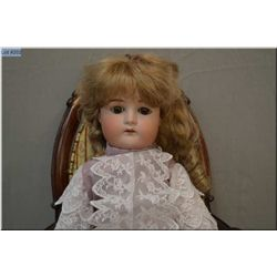 """22"""" German bisque head doll with sleep eyes, open mouth on composition body, good bisque, no cracks,"""