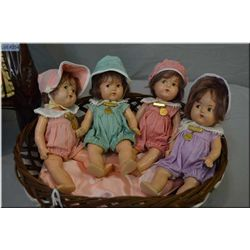 """Four Madame Alexander 7"""" Dionne Quintuplets including Cecile, Yvonne, Emilie and Annette (only Marie"""