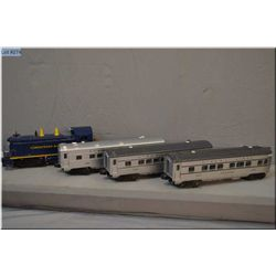 Lionel #624 Chesapeake and Ohio diesel engine, #2422 Chatham, #2421 Maplewood, and #2423 Hillside pa