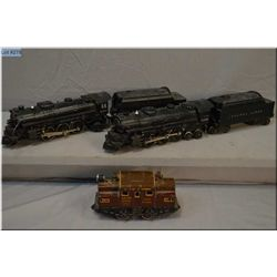 Lionel #2026 steam engine with tender, #2036 steam engine with tender, plus a German made cast iron