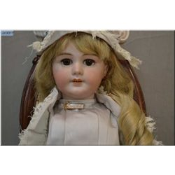 """22"""" French Depose stamped Tete Jumeau bisque head doll with sleep eyes, open mouth on composition bo"""