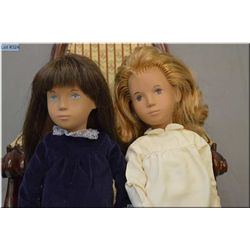 Two vintage English Sasha dolls both with silver labels, one with rooted blonde wig, and one with da