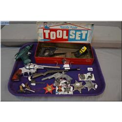 Selection of collectibles including English made pistol, miniature guns and badge, toy box etc.
