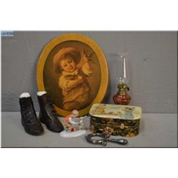 Selection of collectibles including German porcelain figure, small box, baby rattle, leather baby sh