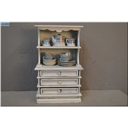 Doll sized Welsh dresser with vintage dishes