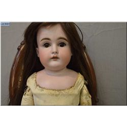 """25"""" German bisque 147 -11- doll on leather body with sleep eyes, open mouth on leather body, good bi"""
