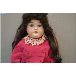 """25"""" ABG bisque head doll on leather body, with sleep eyes, open mouth, note cheek rub, leather body"""