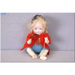 "12"" Porzellanfabrik Burggrub bisque head baby doll, sleep eyes, replaced composition body and mohair"