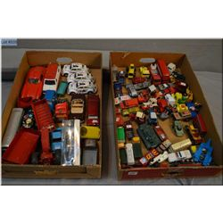 Two trays of die cast toys including Lesney, Corgi, Matchbox etc.