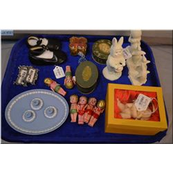 Selection of collectibles including Wedgwood miniature candleholders and tray, leather baby shoes, S
