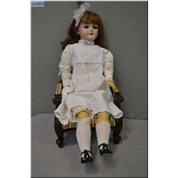 """Large 33"""" Simon Halbig 1079 bisque head doll with sleep eyes, open mouth on composition body. Good b"""