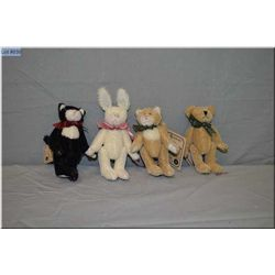 """Four 5"""" Boyds Collections jointed animals, perfect for doll display"""