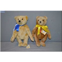 """Steiff jointed teddy bear numbered 953798 """"First American Teddy"""" with growler 14"""" tall and a Hermann"""