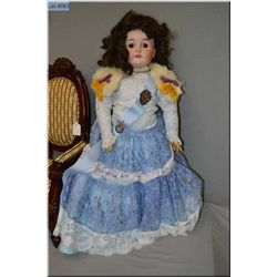 """28"""" Armand Marseille Queen Louise bisque head doll on composition body, with open mouth, set glass e"""