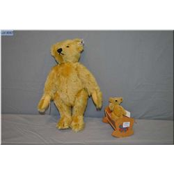 """Steiff 13"""" jointed bear numbered 0162/00 and small baby bear in cradle 4"""""""