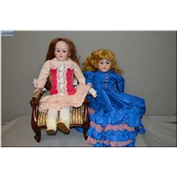 """32"""" Simon Halbig 1260 bisque head doll on leather body with glass sleep eyes, and open mouth, good b"""