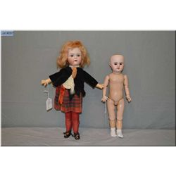 """15"""" Nippon bisque head doll in Scottish costume with set blue eyes, open mouth, mohair wig, good bis"""