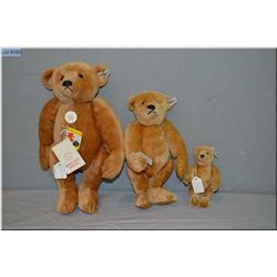 """Set of three Steiff Cinnamon bears including 7"""" bear numbered 0156/18, 12"""" bear with growler numbere"""