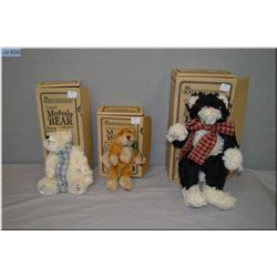 Three boxed Boyd Collections plush toys including cat and two bears
