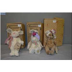 Three boxed Boyds Collections plush bears and rabbit