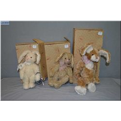 Three boxed Boyds Collections plush rabbits