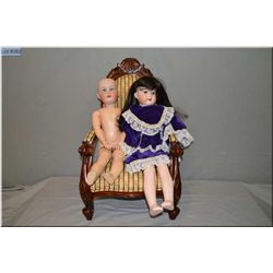 """23"""" Armand Marseille bisque head doll with sleep eyes, open mouth on composition body, good bisque,"""