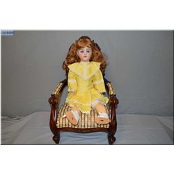 """23"""" German Guttman and Schiffnie bisque head doll on composition body with open mouth, sleep eyes, g"""
