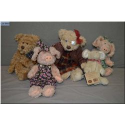 A selection of collectible plush toys including bears, mouse and pigs