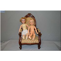 """19"""" Schoneau and Hoffmeister bisque head doll (repainted?) with composition body, fixed eyes and an"""